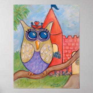 Princess Owl Poster from original pastel painting