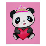 Princess Panda Poster Sweet Gift for Girls Bedroom