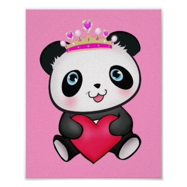 abcsoffamily Princess Panda Poster Sweet Gift for Girls Bedroom