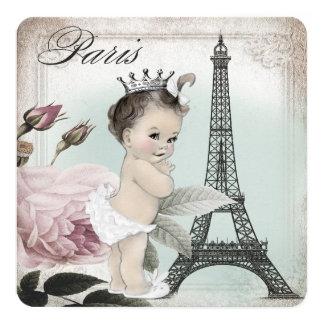 Princess Paris Baby Shower 5.25x5.25 Square Paper Invitation Card