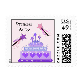 Princess Party Cake with Magic Wands Postage Stamp
