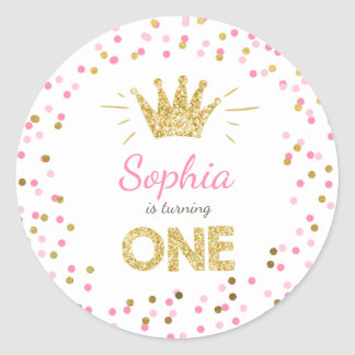 Princess Party Favor Tags Envelope Pink and Gold