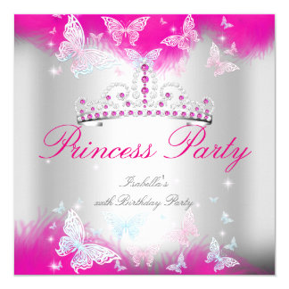 Princess Party Hot Pink Teal Blue Tiara Butterfly Card