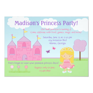 "Princess Party Invitation 5"" X 7"" Invitation Card"