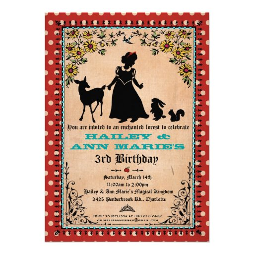 Princess Party Invitation (for Twins or 2 Kids)