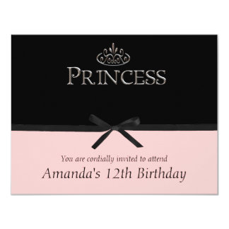 Princess Party Invitation in Black and Pink