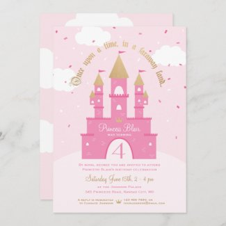 Princess Party Invitations   Pink & Gold Castle