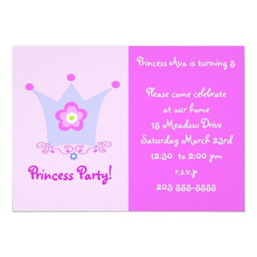 """Princess Party invite 5"""" X 7"""" Invitation Card"""