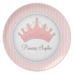 Princess Party Personalized Pink Crown Plate