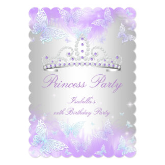 Princess Party Purple Teal Blue Tiara Butterfly Card