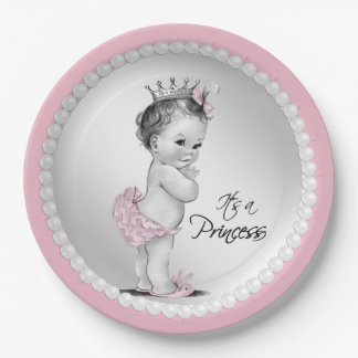 Princess Pearl Baby Shower Paper Plates