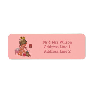 Princess Phone Teddy Suitcase Baby Shower Label