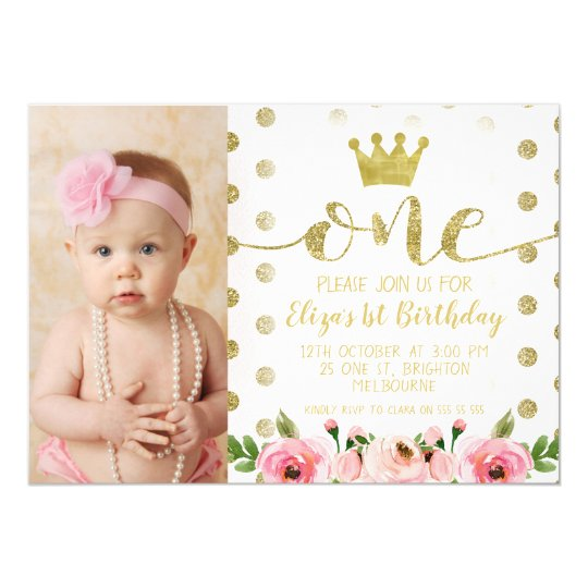 Princess Photo 1st Birthday Party Invitation Zazzle Com