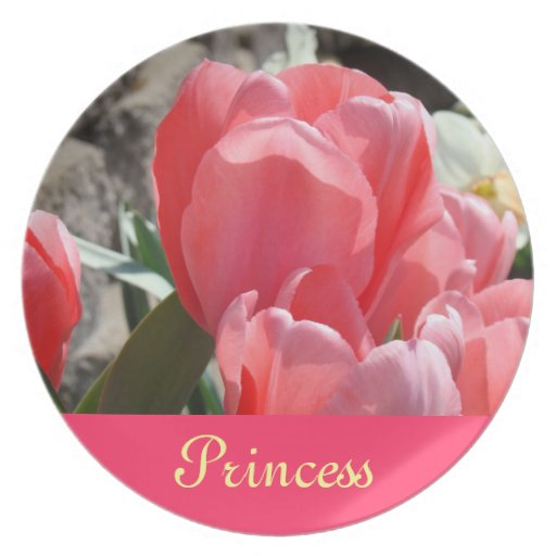 Princess photo plates Pink Tulip Flowers gifts