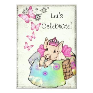 "Princess Piggy in a Blanket Invitation 5"" X 7"" Invitation Card"