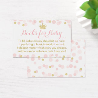 Princess Pink and Gold Baby Shower Books For Baby Business Card