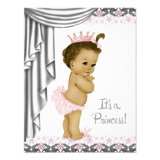 Princess Pink and Gray Baby Girl Shower Custom Invitations