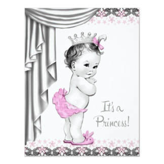 Princess Pink and Gray Baby Girl Shower 4.25x5.5 Paper Invitation Card