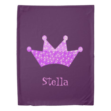 Princess pink and purple tiara with stars add name duvet cover