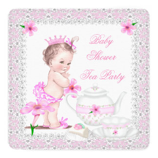 Princess Pink Baby Shower Girl Tea Party 5.25x5.25 Square Paper Invitation Card