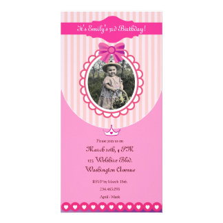 Princess Pink Birthday Photo Card Invitation