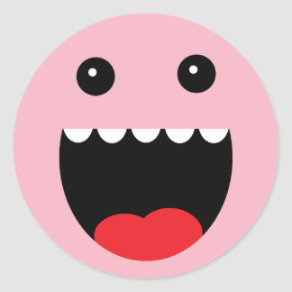 """Princess Pink """"Chompy"""" Monster Face Classic Round Sticker"""