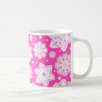 Princess Pink Christmas Snowflake Pattern Coffee Mugs