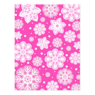 Princess Pink Christmas Snowflake Pattern Postcard