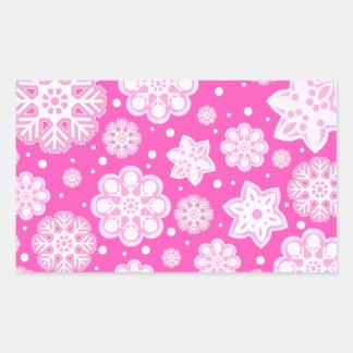 Princess Pink Christmas Snowflake Pattern Rectangular Sticker