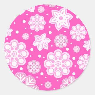 Princess Pink Christmas Snowflake Pattern Classic Round Sticker