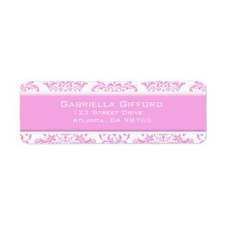 Princess Pink Floral Damask Label