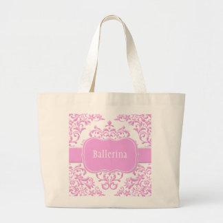 Princess Pink Floral Damask Large Tote Bag