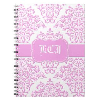 Princess Pink Floral Damask Note Book