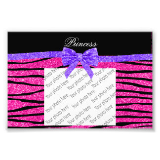 Princess pink glitter zebra stripes purple bow photo