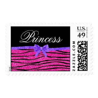 Princess pink glitter zebra stripes purple bow postage