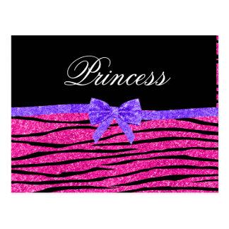 Princess pink glitter zebra stripes purple bow post card
