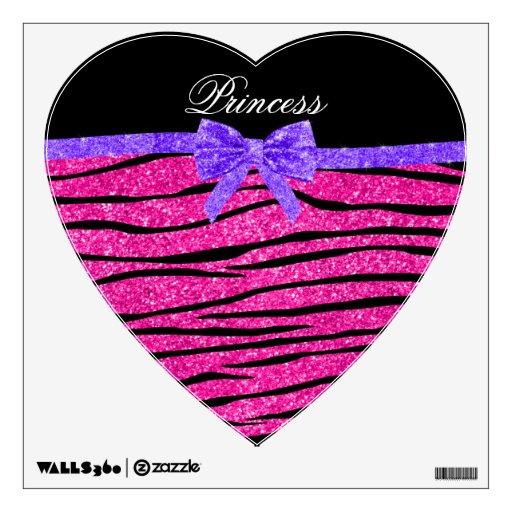 Princess pink glitter zebra stripes purple bow room graphic