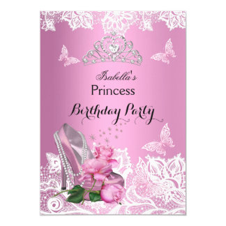 Princess Pink High Heel Roses Lace Birthday Party 5x7 Paper Invitation Card