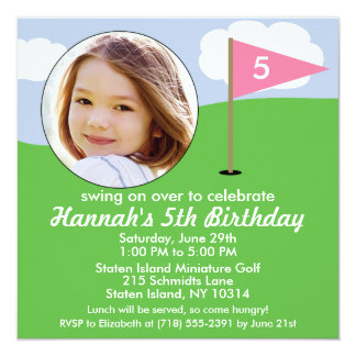 Princess Pink Hole in One Photo Mini Golf Party Card
