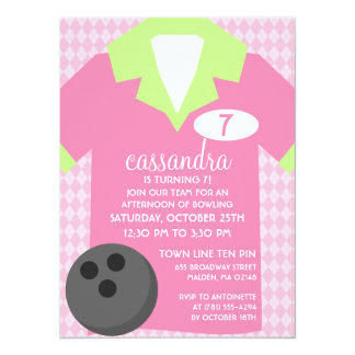 Princess Pink Join the Team Bowling Birthday Party Card