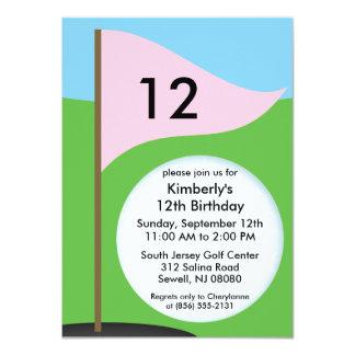 Princess Pink Let's Bogie Mini Golf Birthday Party Card