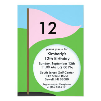 Princess Pink Let's Bogie Mini Golf Birthday Party Invites