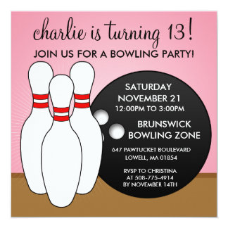 Princess Pink Let's Have a Ball Bowling Party Card