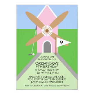 Princess Pink Miniature Golf Windmill Birthday Card