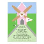 Princess Pink Miniature Golf Windmill Birthday 4.5x6.25 Paper Invitation Card