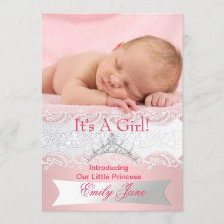 Princess Pink New Baby Girl Announcement Photo