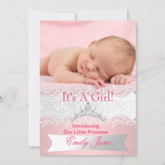 princess pink new baby girl announcement photo zazzle com