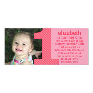 Princess Pink One Is Fun Photo First Birthday Part 4x9.25 Paper Invitation Card