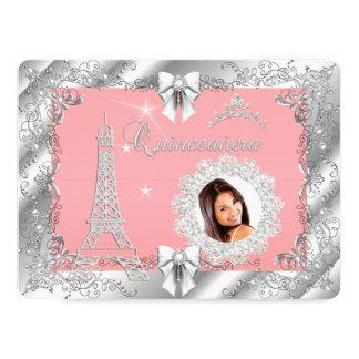 Princess Pink PEACH Quinceanera Silver Photo BIG Card