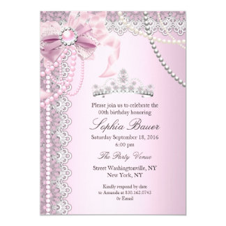 Princess Pink Pearl Bow Lace Birthday Party Card